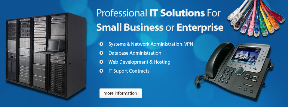 Professional IT solutions for small business or enterprise.  Systems and network administration, VPN.  Database administration.  Web development and hosting.  IT support contracts.